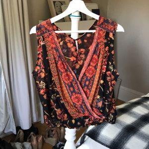 Free people orange floral blouse